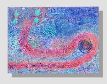 """Peinture abstraite à l'acrylique sur toile. """"Pensées vagabondes"""", tableau peinture en relief bleu, rose. Libellules, chemin. Art original"""