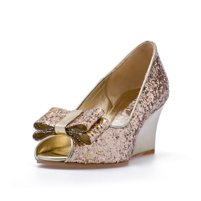 Ashley Gold Glitter Wedges Wedding Shoes
