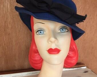 1940s ladies trilby style blue hat