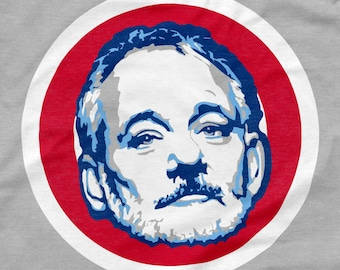 Chicago Cubs Shirt Bill Murray Face Logo Gray Size S M L XL 2XL 3XL SNL Saturday Night Live 2016 World Series Champions Wrigley Field BFM