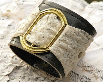 Women's Romantic Gothic Lolita Brown Leather Wrist Wallet Cuff bracelet with Secret Pocket - Limited Edition Leather and Lace Wristband