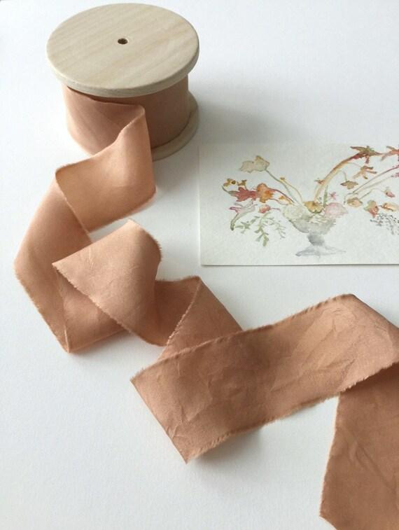 30 Yards TERRACOTTA Plant Dyed Silk Ribbon