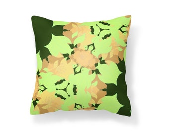 Flower Art Pillow Cover / Orange and Green Flowers  / Mother's Day Gift / Stylish Pillow / Decorative Throw / Green Leaves Pillow Cover