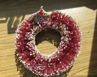 Vintage Red Christmas Bottle Brush Wreath