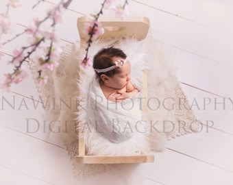 Newborn Digital Backdrop Baby Girl // Blossoms over Bed Backdrop // Real Wood Backdrop// Spring Cherry Blossoms // Backdrop for Newborn Girl