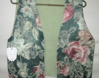 Ladies Size M Floral Green Brocade Vest