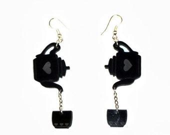 Black Acrylic Tea Earring, Acrylic Earring, Tea Cup Earring