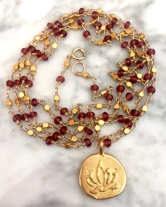 108 Garnet Mala Beads - Lotus Necklace - Rosary Jewelry - Meditation Beads - Yoga Gift - Spiritual Jewelry - January Birthstone