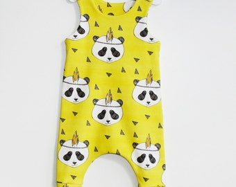 Baby Romper, Organic Cotton, Baby Romper Girl, Baby Romper Boy, Organic Baby Clothes, Baby Onepiece, Toddler Romper, Newborn Onepiece, Panda