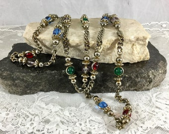 Vintage Long Silver Tone Glass Beaded Necklace Silver Multicolor Blue Red Green Purple Glass Beads 36 in