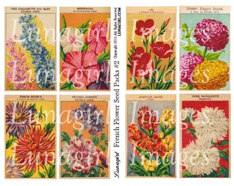 FRENCH FLOWERS seed packs digital collage sheet, Vintage Images floral art, shabby cottage garden Victorian altered paper ephemera DOWNLOAD