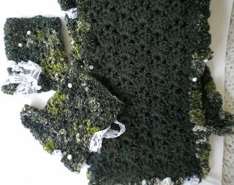 Crocheted Sage Green ArtYarn Scarf w matching Cuffs