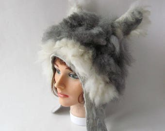 Felted hat Grey Alpaca hat Grey white animal hat Felt warm hat Grey Wool Hat Winter Warm felt hat outdoors gift Alpaca animal hat