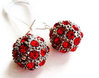 Red Earrings Bohemian Jewelry Swarovski Earrings Crystal Jewelry Long Earrings Bead Jewelry Everyday Earrings Red Jewelry Dangle Earrings