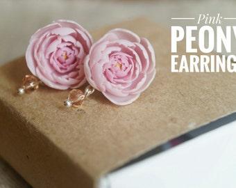 Bridesmaid peony Light pink peony earrings Pink peony stud earrings Peony jewelry Gift from bride Bride wedding gift Mother of the bride