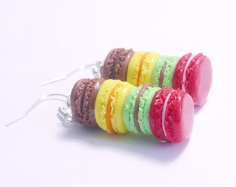 Earrings - colorful macarons polymerclay