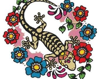 Modern Cross Stitch, Illustrated Ink, Tattoo Art, Cross Stitch, Gecko, Counted Cross Stitch , DMC Materials, Day of the Dead, Lizard pattern