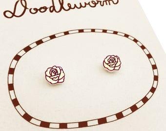 Cream Yellow Rose Earrings (Tiny), Rose Jewelry, Tiny Earrings, Rose Jewellery, Flower Earrings, Flower Jewelry, Shrink Plastic