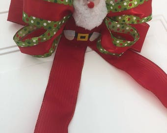 Gift Bow, Red and Green Holiday Bow tree bow, Large gift bow, Christmas decoration, Glitter holiday bow, Bow for wreaths, Gift wrap bow