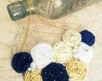 Nautical Statement Necklace, Floral Statement Necklace, Nautical Statement Jewelry,Bib Necklace, Gold,Navy Nautical Necklace,Textile Jewelry