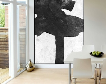 original Black and White Abstract painting, modern original Painting on canvas, large Abstract Painting, large wall Art,