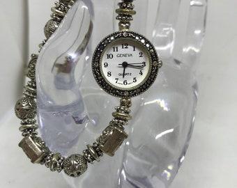 Silver beaded watch