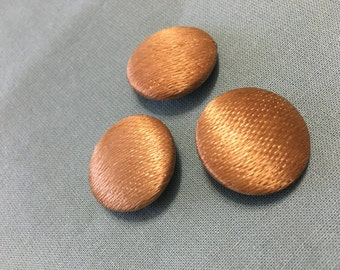 Vintage Round Gold Fabric Buttons (x3) 25mm