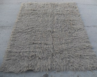 free shipping VINTAGE TURKİSH shaggy rug Anatolian handwoven kilim rug decorative kilim - SİZE : 64'' X 90'' ( 160 cm X 225 cm)