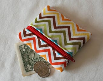 Coin Purse, Zipper Pouch, Change Purse, change pouch, wallet, chevron, rainbow, white