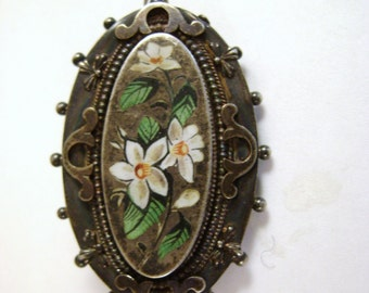 Antique Enameled Floral Locket, Sterling Silver Pendant/Brooch Locket, Victorian Enamel Locket