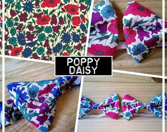 """Collection """"POPPY DAISY"""" bow tie adult-teen-child-baby"""