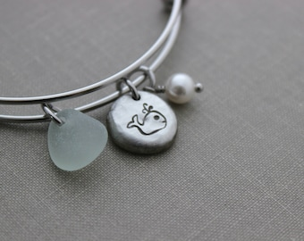 whale bracelet stainless steel adjustable wire bangle - genuine sea glass and Swarovski crystal Pearl - Pewter Pebble Coin - Ocean jewelry