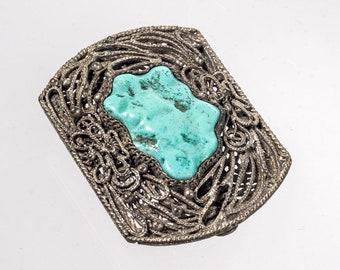 China filigree & turquoise dress clip