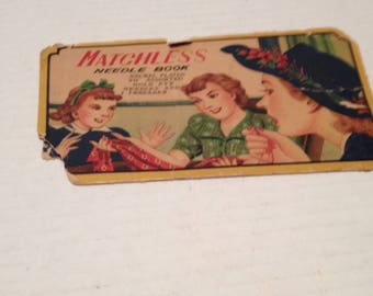 Vintage Multicolored Needle case with Needles