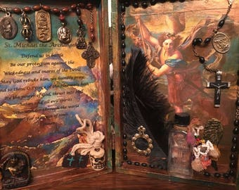 Reserved! St Michael Assemblage Shrine Altered Shrine Pocket Shrine Travel Shrine Mixed Media Shrine Cigar Box