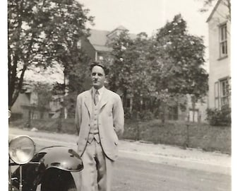 """Vintage Snapshot """"His Nibs"""" Aristocratic Handsome Young Man Expensive Antique Car Found Vernacular Photo"""