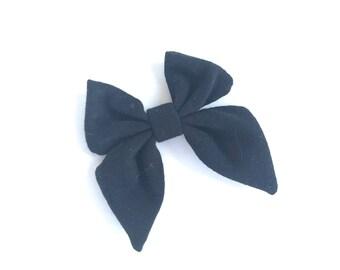 Black hair bow - sailor bows, hair bows, hair bow, bows, hair clips, hair bows for girls, fabric bows, baby bows, girls hair bows, hairbows