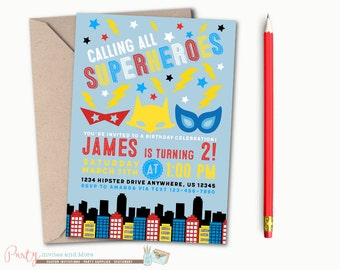 Superhero Birthday Invitation, Superhero Invitation, Super Hero Birthday Invitation, Super Hero Invitation, Boy Birthday Invitation