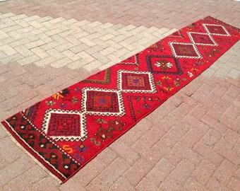 """Runner rug, Turkish runner, 128"""" x 25"""", Vintage hand knotted Rug, red hallway rug, runner rug, runner vintage rug, runner rug, 184"""