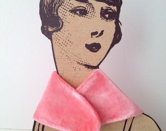 Silk Velvet Neck Hand-dyed Handmade Special wedding bridal collar Winter  OOAK (one of a kind) Rose quartz