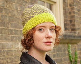 Women's knit winter hat, Wool winter beanie, Fair Isle hat, Lime green hat, Natural wool beanie