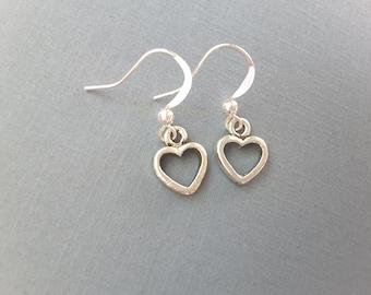 Petite Silver Hearts Drops . Earrings
