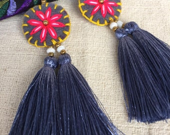 NA RIN Gray Tassel Earring Bohemian Give In On Special Days,With Gift Box