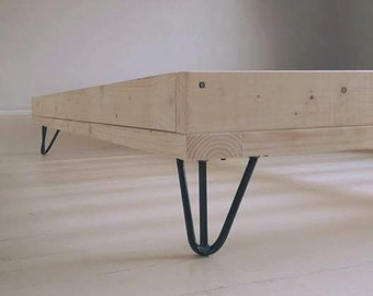 THE KELLY - uniquely handmade natural wooden bed frame with bare steel hairpin legs - double