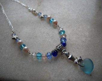 Once Upon a Mermaid- Mermaid Necklace- Bib Necklace- Sea-Glass and Mermaid Necklace- Little Mermaid Jewelry- Teen Necklace- Ariel's Jewelry