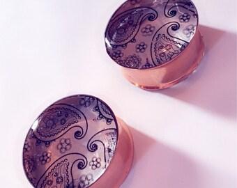25mm Paisley print pattern plugs!