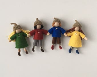 Acorn Cap Dolls-- set of four little woodland dolls