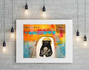 Contemporary Art Print, Buddha Bear Print, Fine Art Giclee,