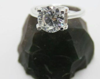 White Sapphire Sterling Silver Ring, size 6.75