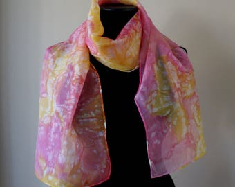 Pale yellow and pink oblong silk scarf, ombre hand dyed stole, hand stitched rolled hem shawl, teen vintage fashion accessories